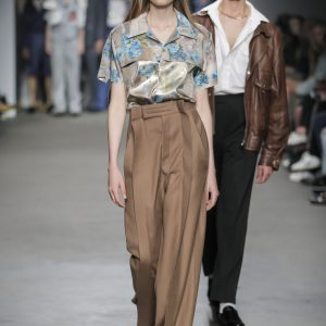 Wide camel pants made of Italian cashmere wool with infused front pleats and signature stavreva kreator velkro waistband